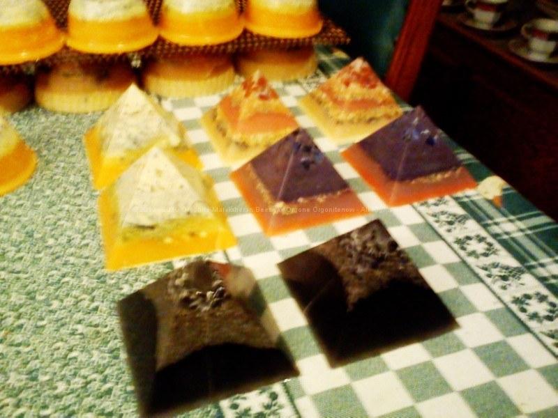 beeswax orgonite pyramids 9 cm