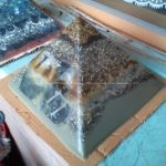 the beeswax orgonite pyramid for web radio 11:11 in all its shine