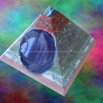 Pyramid Orgonite Cosmic Healing, beeswax, minerals and crystals, metals