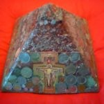 Pyramid orgonite Mea Culpa, with beeswax, metals, ancient and legal coins, Laser quartz, black tormalin, and a crucifix