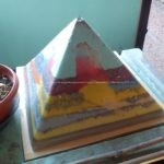 Pyramid orgonite Selene Mirror, beeswax, quartz amethyst, hyalin laser quartz, shungit, selenit and metals