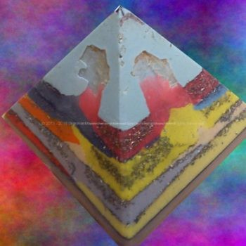 Pyramid Orgonite Selene Mirror, beeswax minerals and crystals, metals