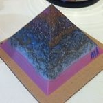 Veganite pyramid 12 class 009, soywax quartz and moon stones, metals.