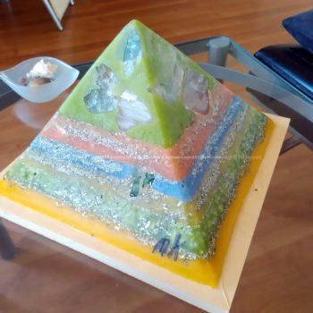 Rotterdam 24 cm pyramid, beeswax, fluorite, rose quartz, green quartz, white quartz with black tourmaline, metals.