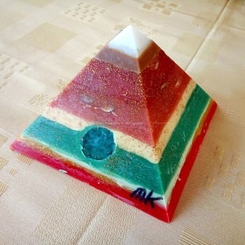 White Jade Three 17 cm pyramid orgonite