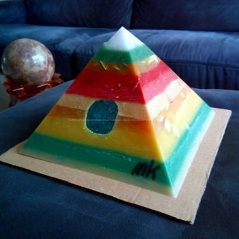 White Jade Two 17 cm pyramid orgonite